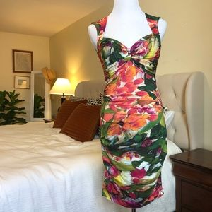 Ruched floral cocktail dress by Nicole Miller